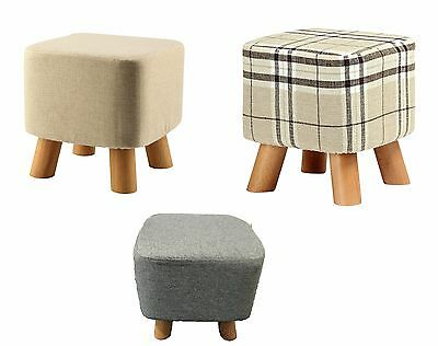Luxury Square Padded Footstool / Ottoman / Pouffe / Stool 4 Wooden Legs