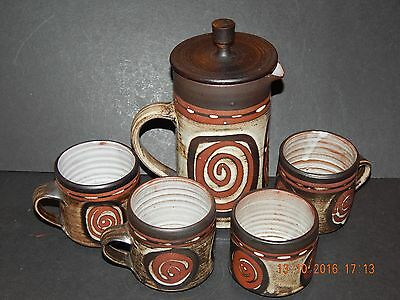 BRIGLIN STUDIO POTTERY COFFEE POT WITH LID, 3 CUPS & SUGAR BOWL 1960's