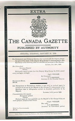 CANADA GAZETTE EXTRA 1936-Death of KG V,Proclaim KEVIII as KING (2 Papers)