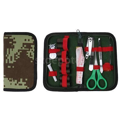 Camouflage Sewing Kit Portable Travel Needle Scissor Bag for Cadets Military