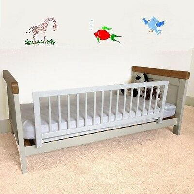 Bed Rail Guard Wooden Durable Barrier Fit Most Single Double Beds Gray