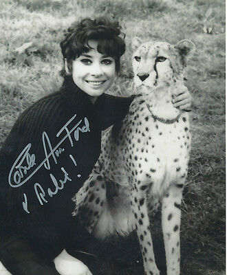 Carole Ann Ford In Person Signed Photo - A839 - With a cheetah!!!