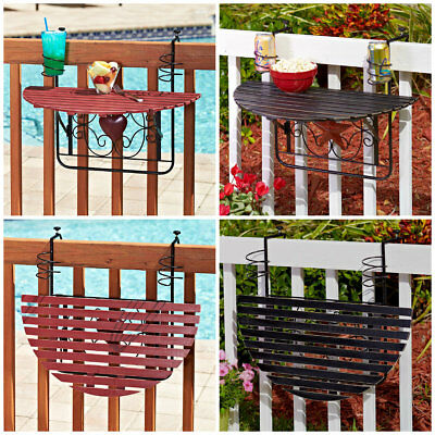 FOLDING WOOD DECK TRAY TABLE RAILING PATIO PORCH BALCONY Cabin Pool Party BBQ