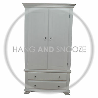 Handmade Crown 2 Door Wardrobe White (Assembled)
