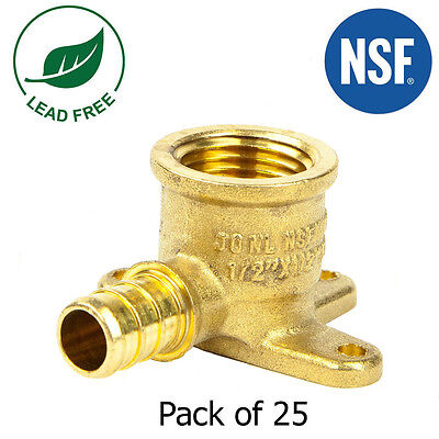 "(25) 1/2"" PEX Female Threaded Drop Ear Elbow- Brass Crimp Fitting"