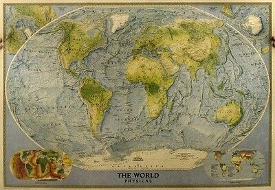 Atlas Weltkarte The World Physical Bilddruck alte Welt Antique Map Weltkugel