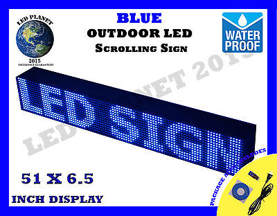 """BLUE - 51""""X6.5"""" LED PROGRAMMABLE SCROLLING SIGN - OUTDOOR (Totally Water Proof)"""