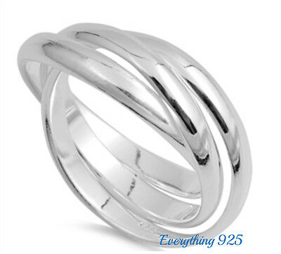 Sterling Silver 925 TRIPLE BAND WITH INTERTWINED DESIGN RINGS 3MM SIZES 4-13