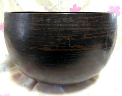 "Named Antique 1951 Made BIG 10.67"" Japanese Vintage Buddhist Copper Bell G129"