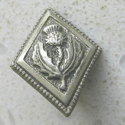 DIAMOND SHAPED SILVER THISTLE BUTTON SCOTTISH * COLLECTABLE *17mm