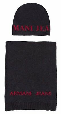 Armani Jeans Mens Navy Blue Scarf and Hat Set with Gift Packaging