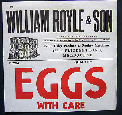 Antique William Royle & Son Egg Box Label ~ Melbourne