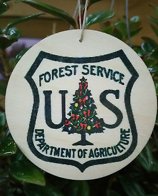 Set Of 3 *forest Service Logo Wood Christmas Ornaments* Usa Made! Shield Sign