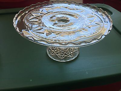 VINTAGE CRYSTAL CLEAR GLASS PRESSED PEDESTAL CAKE PLATE STAND- Scroll Pattern
