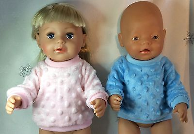 """Handmade Dolls Clothes To Fit 17"""" Baby Born - Pink And Blue Minky Jumpers"""