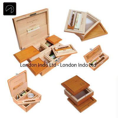 Wolf Productions Smoking Stash - Rolling Tray Box - Real Wood Deluxe - Essential