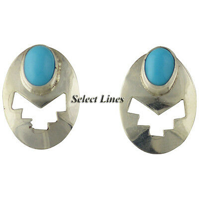 Sterling Silver Turquoise Cut Out Earrings Navajo Jewelry Native American
