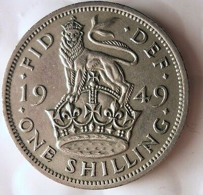 1949 GREAT BRITAIN SHILLING - English Crest - Excellent Coin - SHILLING BIN A/42