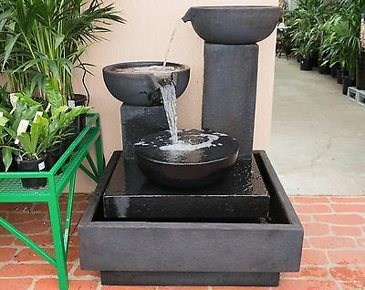 Large Outdoor Patio Garden Water Feature Trio Cascading Cup Fountain Black