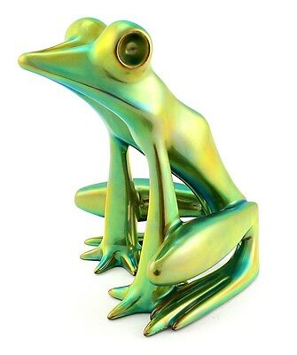 Large Zsolnay Iridescent Eosin Art Deco Frog Figurine