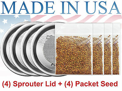 Sprouter Kit With LID - Organic Pure Alfalfa Sprouting Seed (1G/ 1LB)