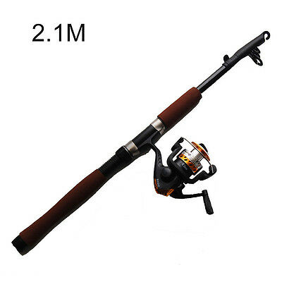 2.1m Fishing Rod & Reel Combo Portable Telescope Adjustable Fishing Rod Reel Set