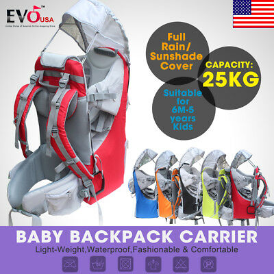 Baby toddler Hiking Carrier Backpack w/ Raincover Child Kid Sun/canopy Shield US