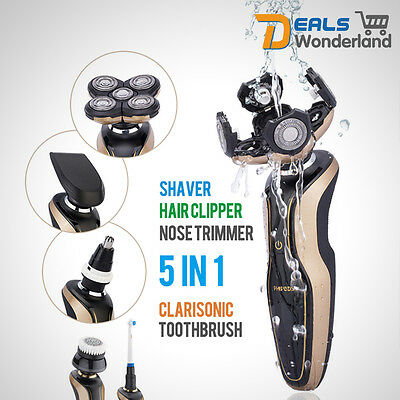 New 5D Mens Electric Razor Rotary Shaver 360°Cordless Haricut & Nose Trimmer