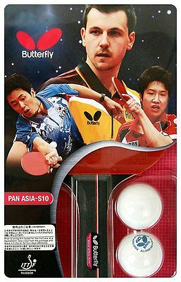 Butterfly Pan Asia S10 Table Tennis Racket Shakehand Ping Pong Racket & Bal