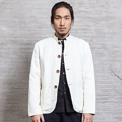 Chinese Traditional Style Mens Zhongshan Tunic Suit Coat Blazers Stand-up Collar