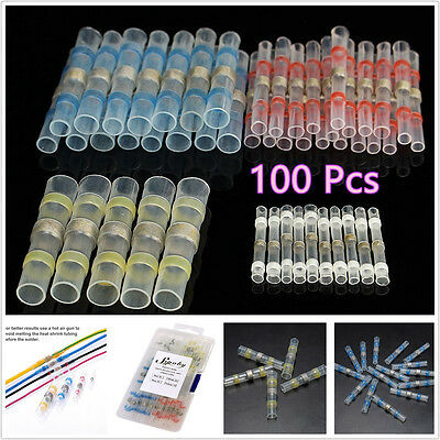 100 Pcs 4 Sizes Car SUV Solder Seal Heat Shrink Butt Wire Connector Terminal Kit