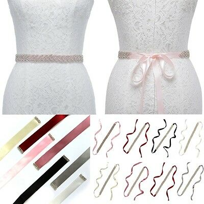 Rhinestone Mosaic Bridal Wedding Sash Dress Waist Belt Diamante Ribbon Waistband