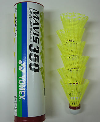 One Tube Yonex Mavis 350 Yellow Nylon Shuttlecock, Fast, Red Cap, Made in Japan