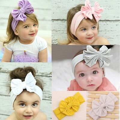 Girls Baby Cotton Bow Hairband Stretch Turban Knot Head Wrap for Kids