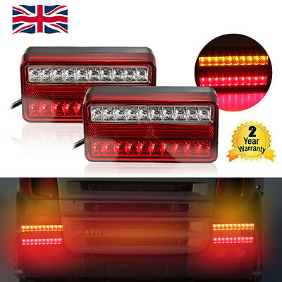 2 x 12V LED TRAILER VAN TRUCK CARAVAN REAR TAIL BRAKE STOP INDICATOR LIGHT LAMP