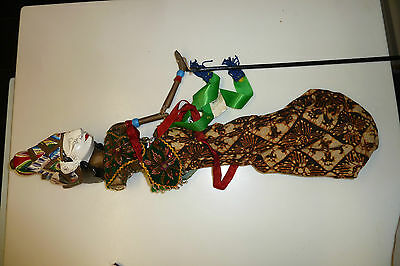 Vintage Indonesian Wood Puppet Doll On Sticks - Hand Carved And Painted