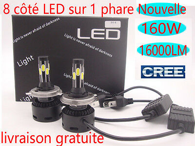 2x H7 H11 H4 160W 16000LM CREE LED Phare Ampule Feux Voiture Lampe Blanc 6000K
