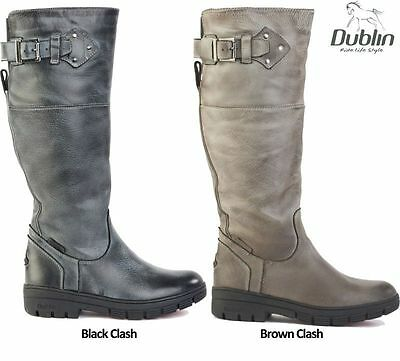 Dublin Edge Ladies Riding Country Boots,Size 8 Black Clash,Waterproof Long Boots