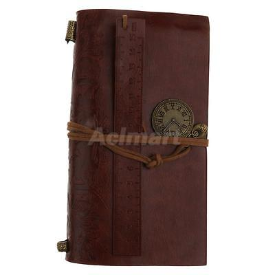 Brown Pu Leather Cover Journals Diary Travel Vintage Style Notebook Clock
