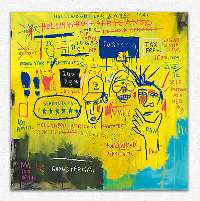 Jean-Michel Basquiat  Hollywood africans  100x100 cm  STAMPA TELA CANVAS PRINT
