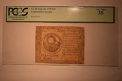 Continental Currency September 26, 1778 $30 PCGS Very Fine 35.
