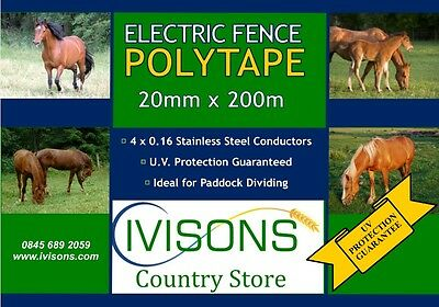 HIGH QUALITY ELECTRIC FENCE POLY TAPE 4 STRAND 20MM 200M
