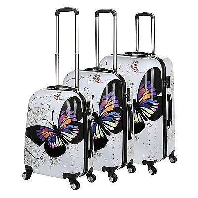 Hard Shell 4 Wheel Suitcase PC Luggage Trolley Case Cabin Hand Butterfly - White