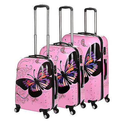 Hard Shell 4 Wheel Suitcase PC Luggage Trolley Case Cabin Hand Butterfly - Pink