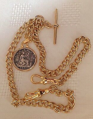 1872 Victorian Coin Fob Rolled Gold Double Albert Pocket Watch Chain
