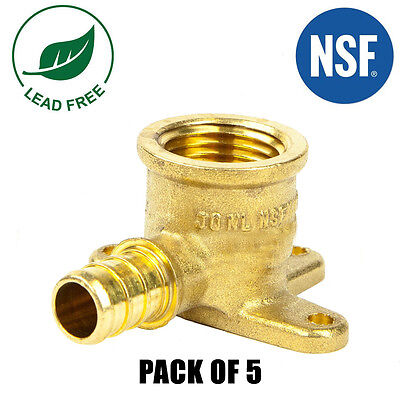 "(5) 1/2"" PEX Female Threaded Drop Ear Elbow- Brass Crimp Fitting"