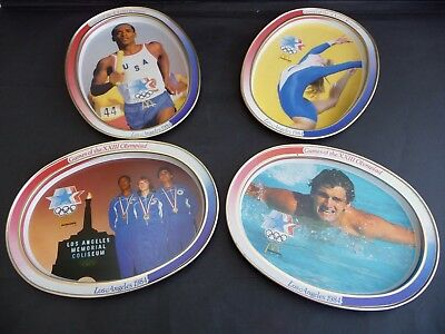 Set Of 4 Mcdonalds 1984 Olympics Metal Serving Trays Collectors - Fab Condition