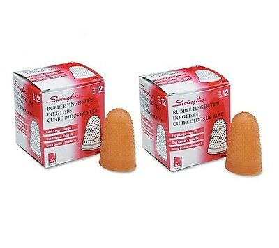 Swingline Rubber Finger Tips Size 14 X Large Amber 1 Dozen Per Pack (Pack of 2)