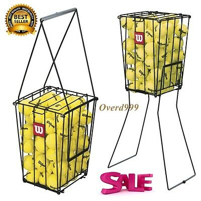 Basket Tennis Ball Pick Up Hopper Storage Holder 75 Balls Portable Training Aid