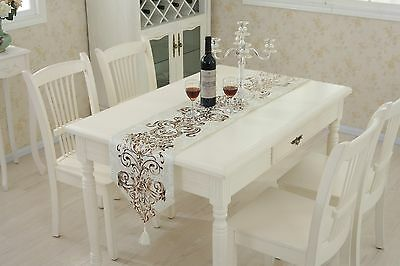 Ivory Table Runner Flocked Damask Cushion Chenille Placemat Tassel Wedding Decor